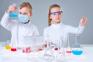kids with chemistry set